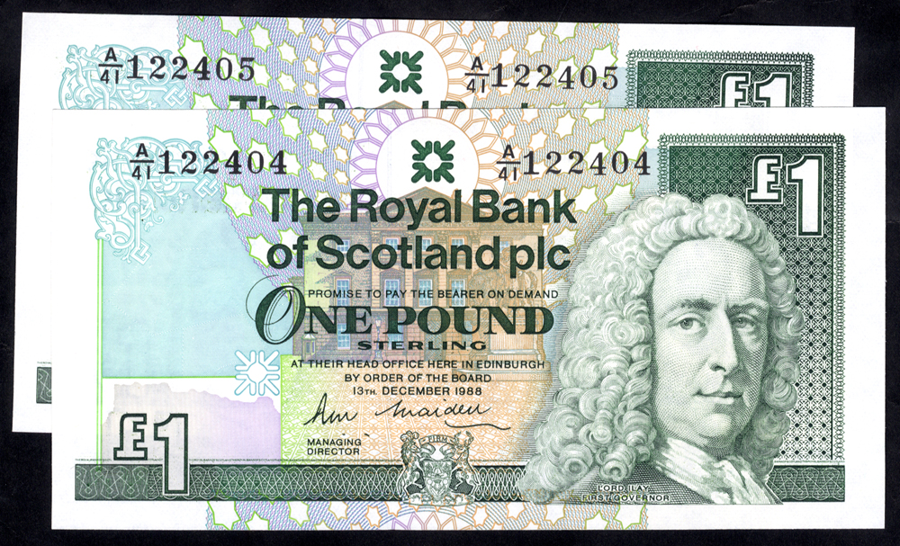 Royal Bank of Scotland 1988 R. M. Maiden £1 Lord Ilay consecutive pair (A/41 122404/5), UNC
