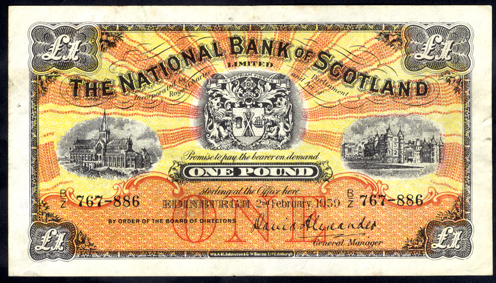 National Bank of Scotland 1959 (Feb) David Alexander £1 Glasgow Cathedral (B/Z 767-886), VF+