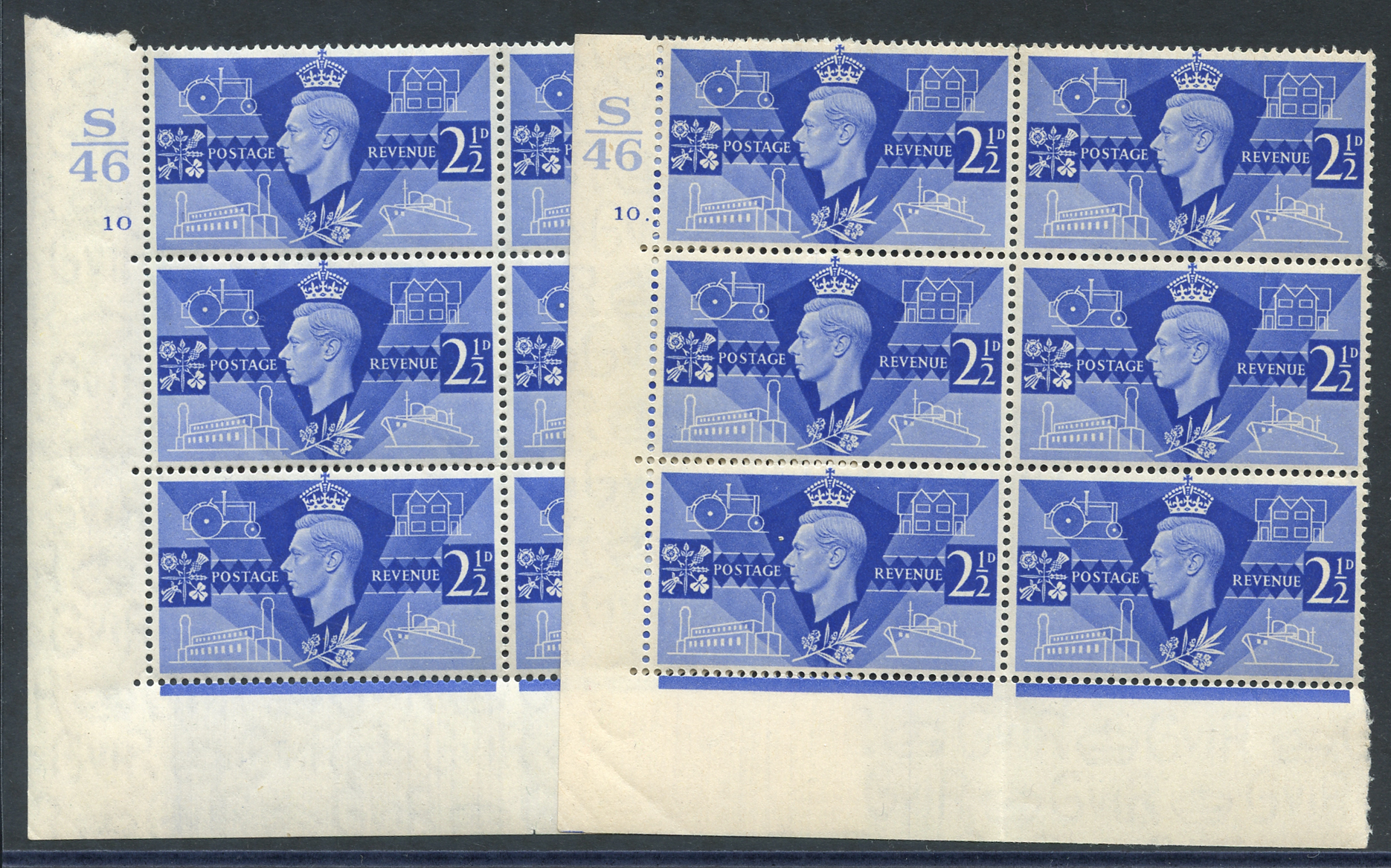 1946 Victory 2½d ultramarine pair of UM Control blocks of six (S46), Cyl. 10 & 10 dot