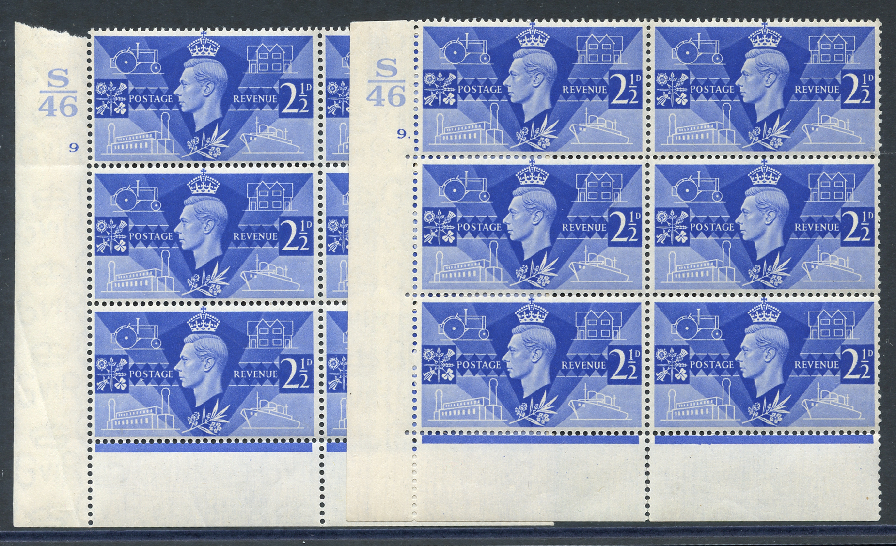 1946 Victory 2½d ultramarine pair of fine M Control blocks of six (S46), Cyl. 9 & 9 dot