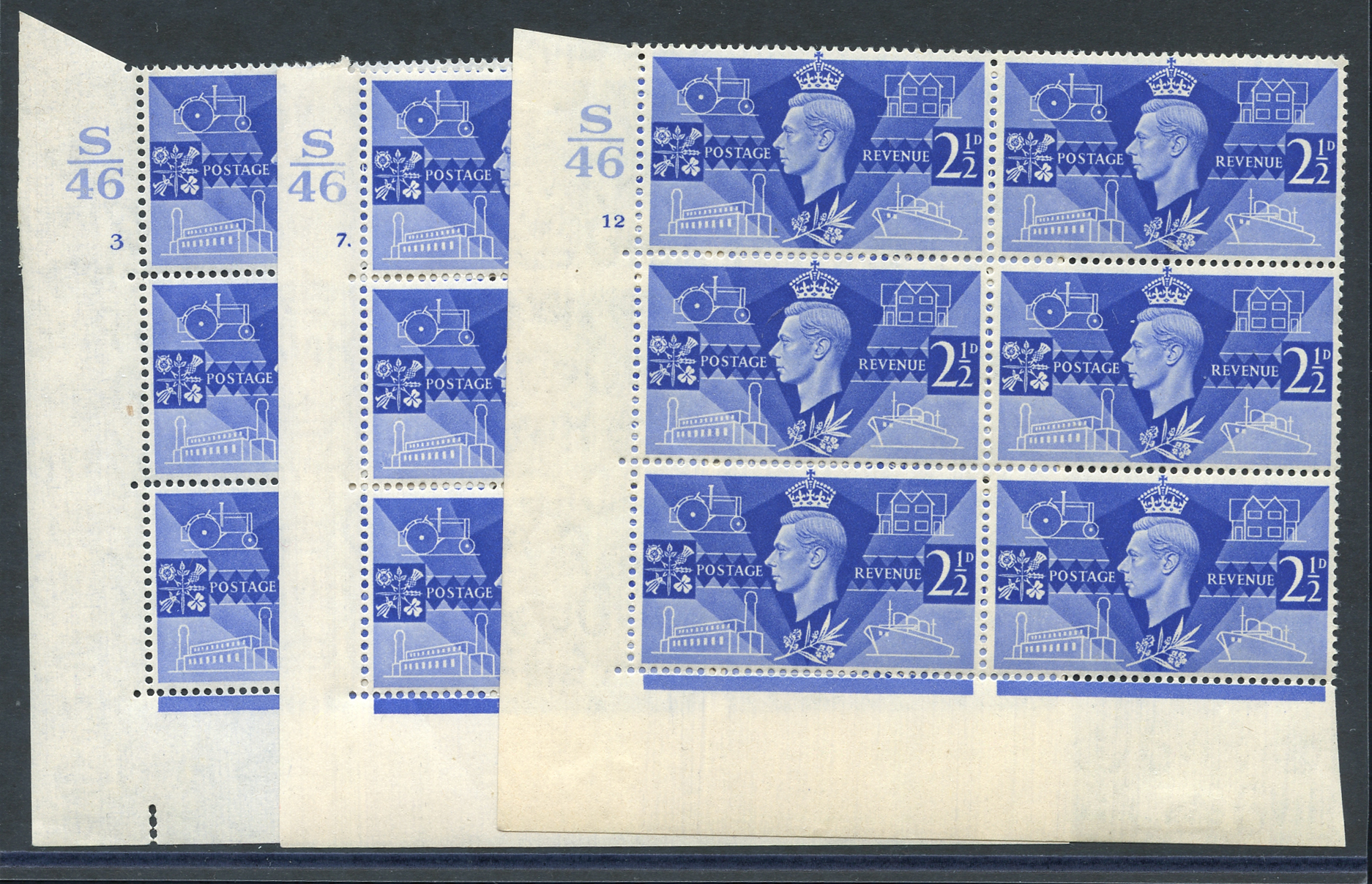 1946 Victory 2½d ultramarine three different UM Control blocks of six (S46), Cyl. 3, 7 dot & 12