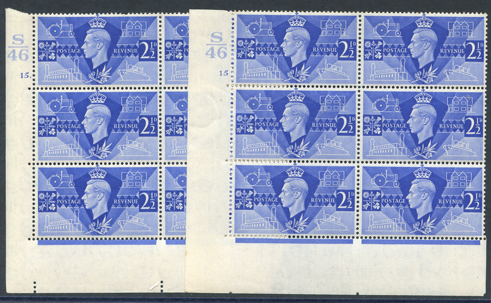 1946 Victory 2½d ultramarine pair of fine M Control blocks of six (S46), Cyl. 15 & 15 dot