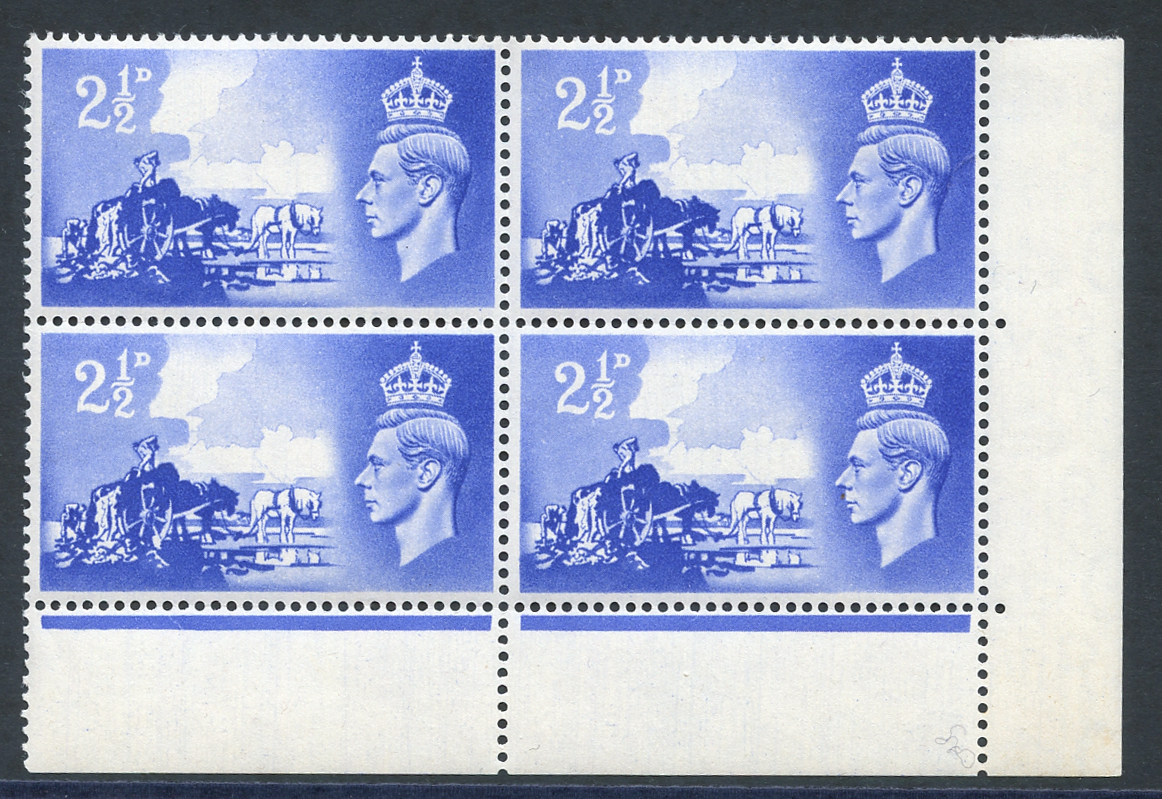 1948 Liberation 2½d ultramarine lower right corner marginal UM block of four incl. variety 'wheel flaw' (R20/5)