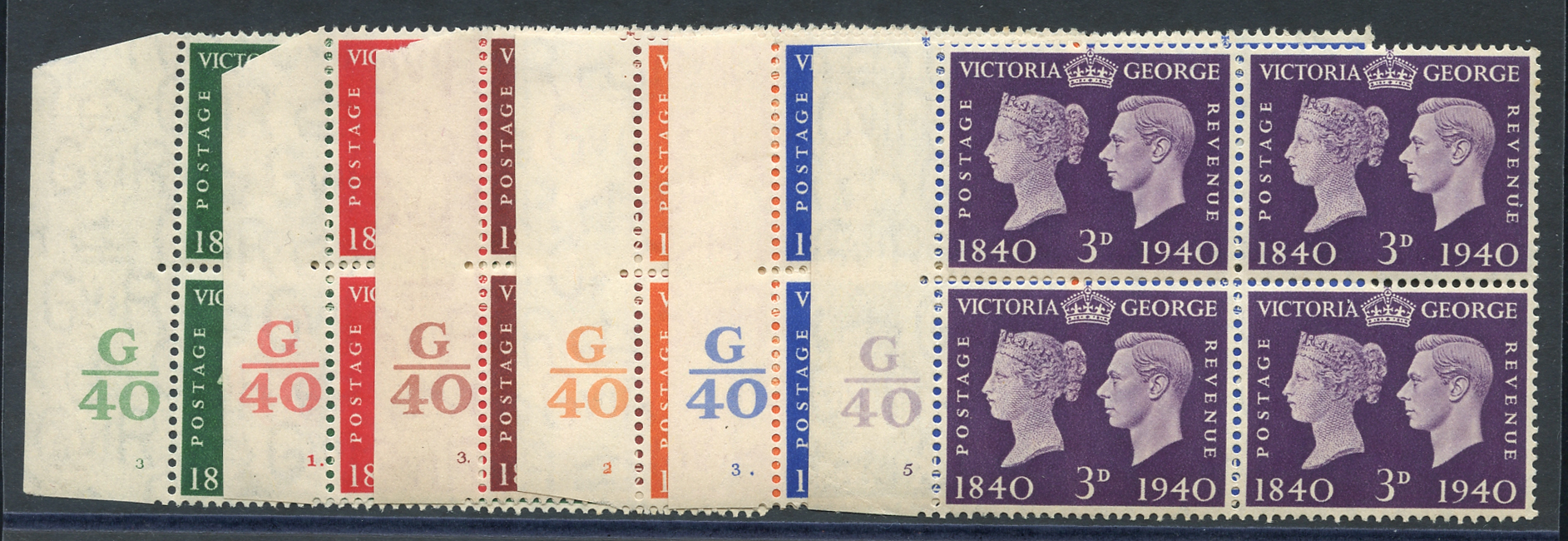 1940 Centenary set in UM Control blocks of four (odd tone spots affecting three stamps)