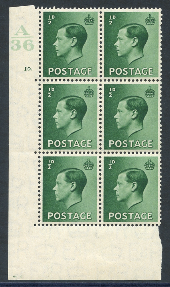 1936 ½d green UM Control block of six (A36) Cyl. 10 dot, incl. variety 'pearl beside crown' (R20/2)