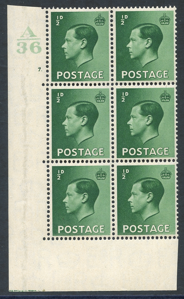 1936 ½d green UM Control block of six (A36) Cyl. 7 dot, incl. variety 'pearl beside crown' (R20/2)