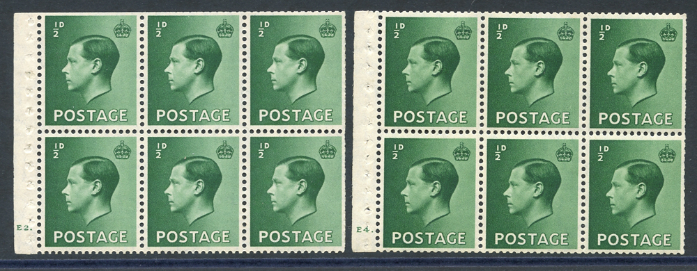 1936 ½d green - two booklet panes of six, Cyl. E4 dot (hinge marks on two), Cyl. E4 dot (hinge mark on one), both panes with trimmed perfs in places