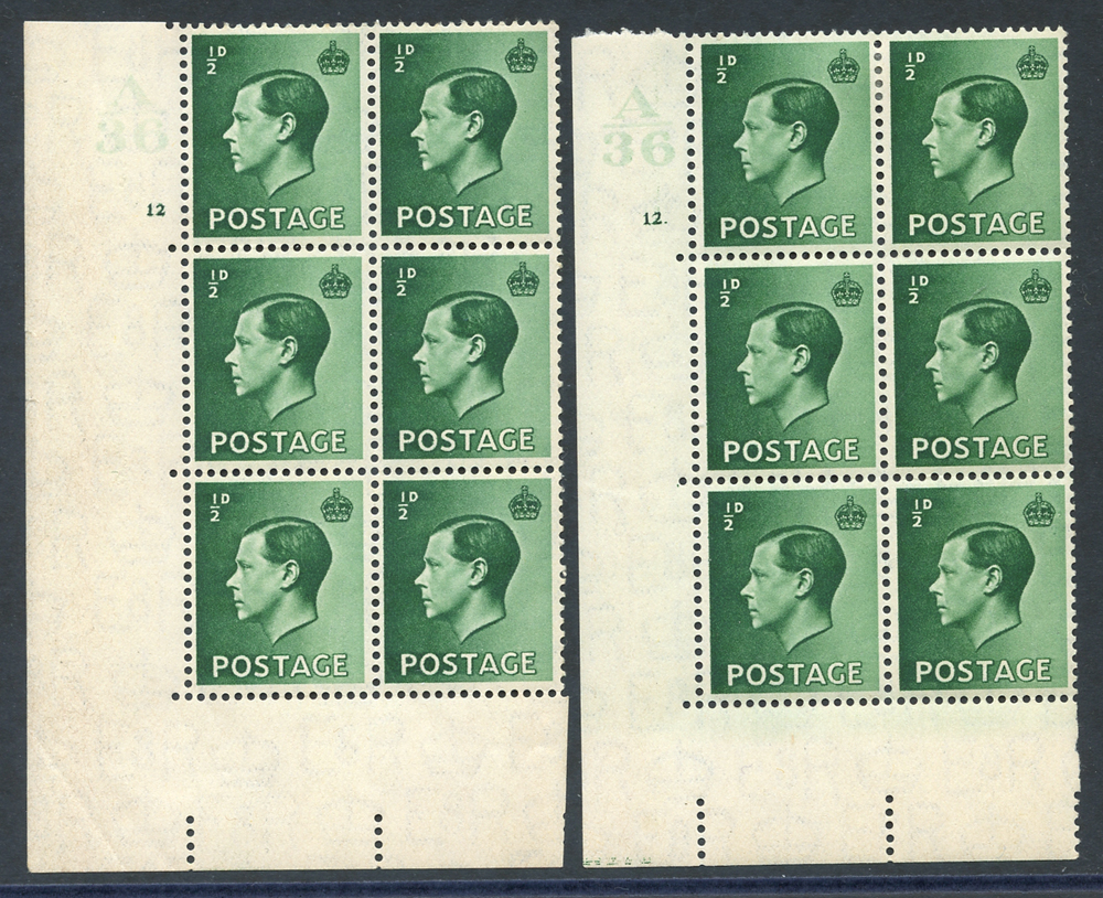 1936 ½d green pair of Control blocks of six (A36), Cyl. 12, UM & Cyl. 12 dot, fine M (4x UM), Cyl. 12 dot incl. variety 'pearl beside crown' (UM)