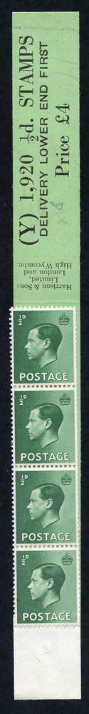 1936 ½d green - a very fine Coil Leader (Y) 'Delivery Lower End First' with four stamps attached