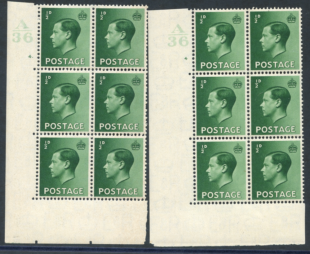 1936 ½d green - pair of Control blocks of six (A36) Cyl. 4 fine M & Cyl. 4 dot UM