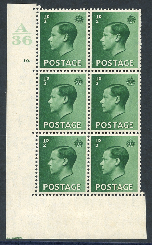 1936 ½d green Control block of six (A36) Cyl. 10 dot, fine M (4x UM) incl. variety 'pearl beside crown' (R20/2)