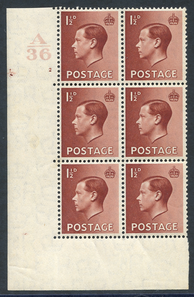 1936 1½d red-brown UM Control block of six (A36) from Cyl. 2