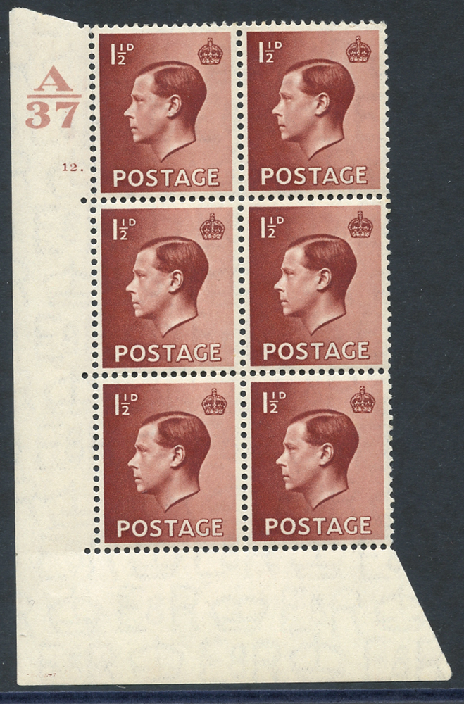 1936 1½d red-brown UM Control block of six (A37) Cyl. 12 dot