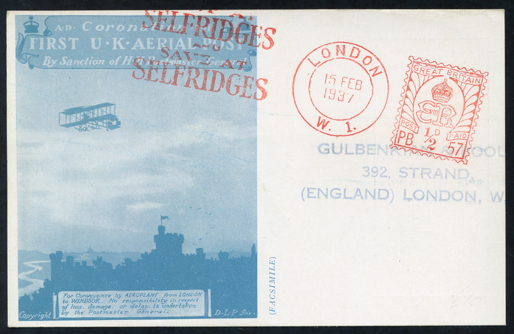 1937 Selfridges Airmail Stamp Exhibition card with slogan pmk 'SAVE AT SELFRIDGES'