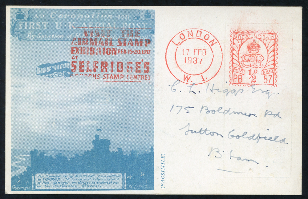 1937 Selfridges Airmail Stamp Exhibition card with slogan pmk 'VISIT THE AIRMAIL STAMPEXHIBITION AT SELFRIDGES'