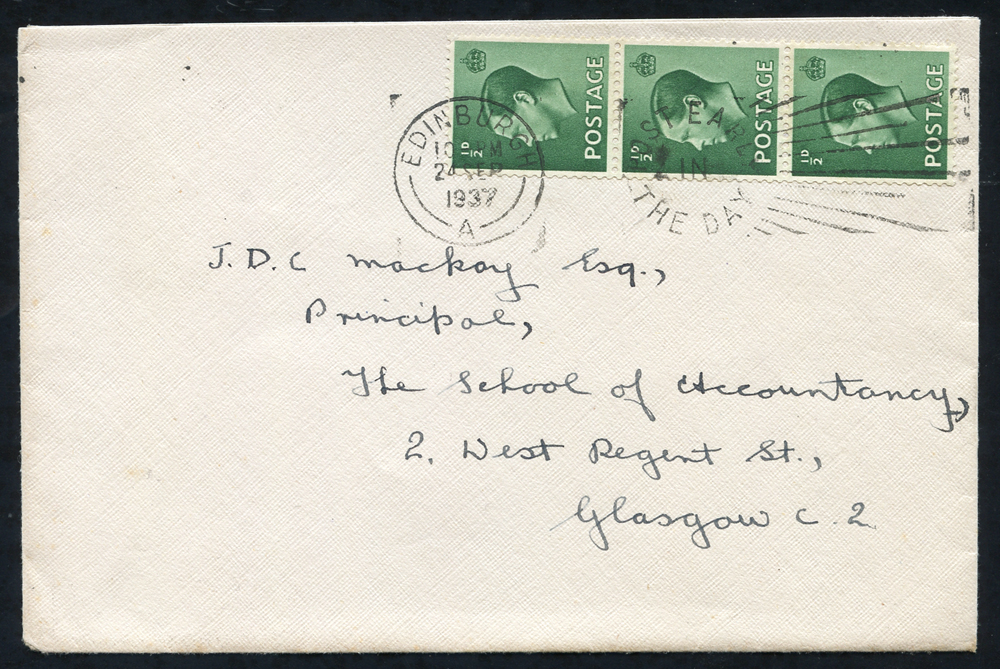 1937 envelope from Edinburgh to Glasgow, franked ½d green vertical coil strip of three