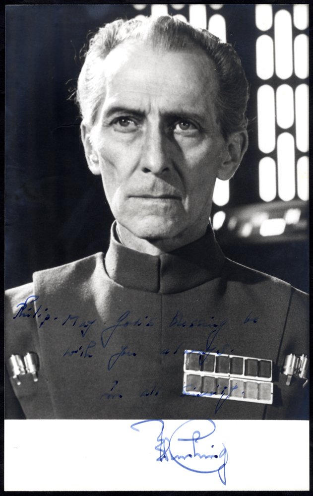 CUSHING, PETER 1913-1994 (English Actor) signed black & white publicity photograph (5x8) for Star Wars showing Cushing in uniform as the character Moff Tarkin