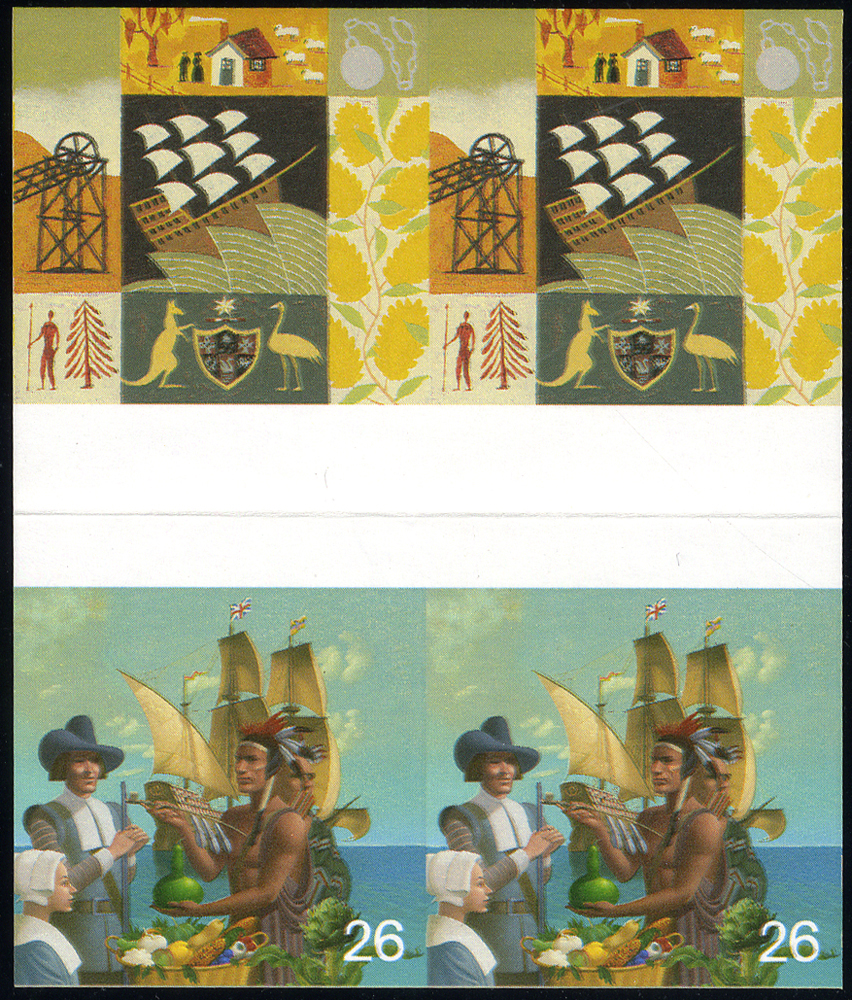1999 Settlers Tale 26p & 43p Imperf Proof gutter block of four, horizontal crease through gutter margin