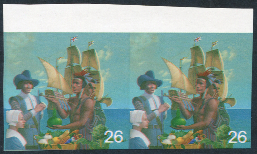1999 Millennium Settlers 26p top marginal Imperf Proof pair with some silver & phosphor omitted