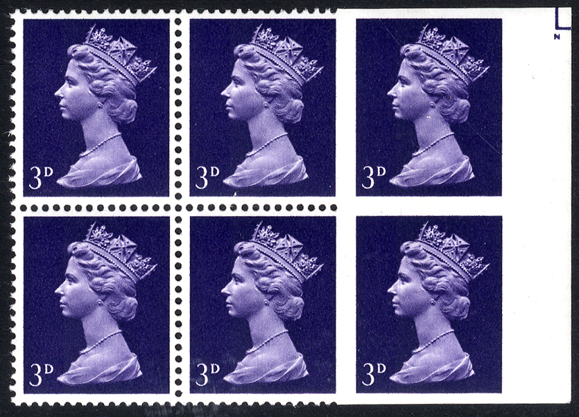 1967 3d violet (centre band) UM right side marginal block of six, the right hand vertical pair completely Imperf