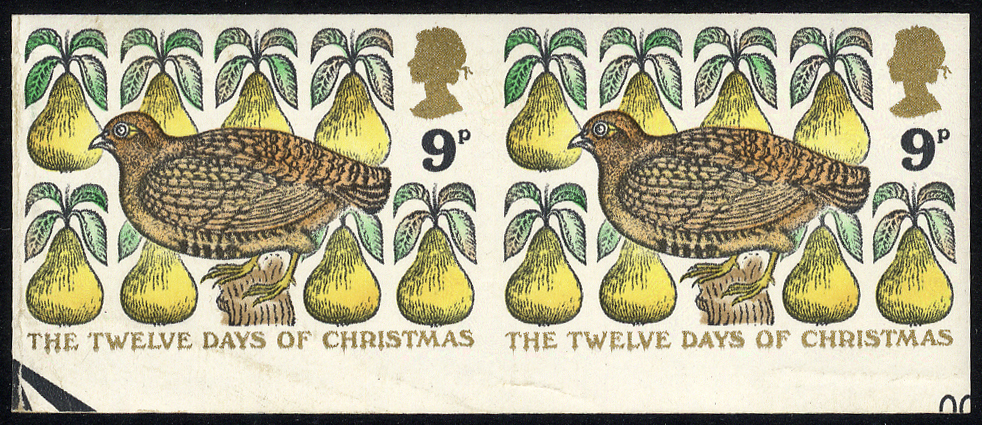 1977 Christmas 9p variety Imperf in an UM lower marginal horizontal pair