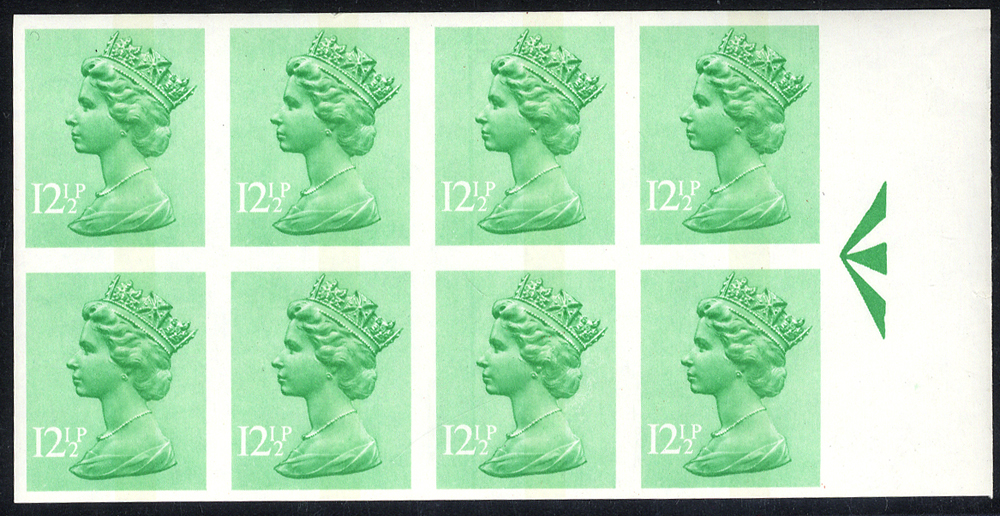 1982 12½p light emerald (1 centre band) UM Imperf block of eight with sheet margin at right