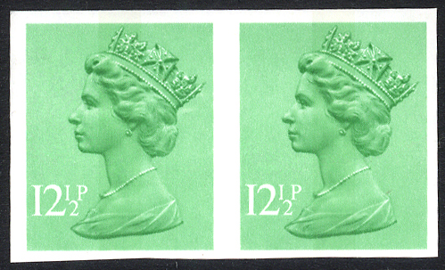 1982 12½p light emerald (centre band) Imperf pair UM