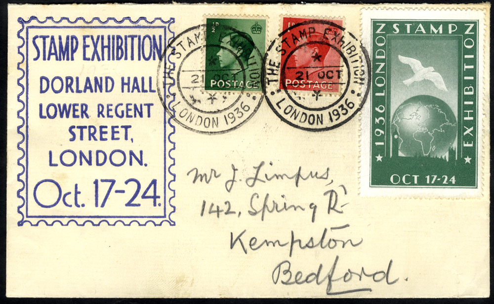 1936 October display cover for the 1936 Stamp Exhibition at Dorland Hall, franked KEVIII ½d & 1d adhesives plus exhibition publicity label in green, all tied by the exhibition double ring c.d.s. for 21st October.