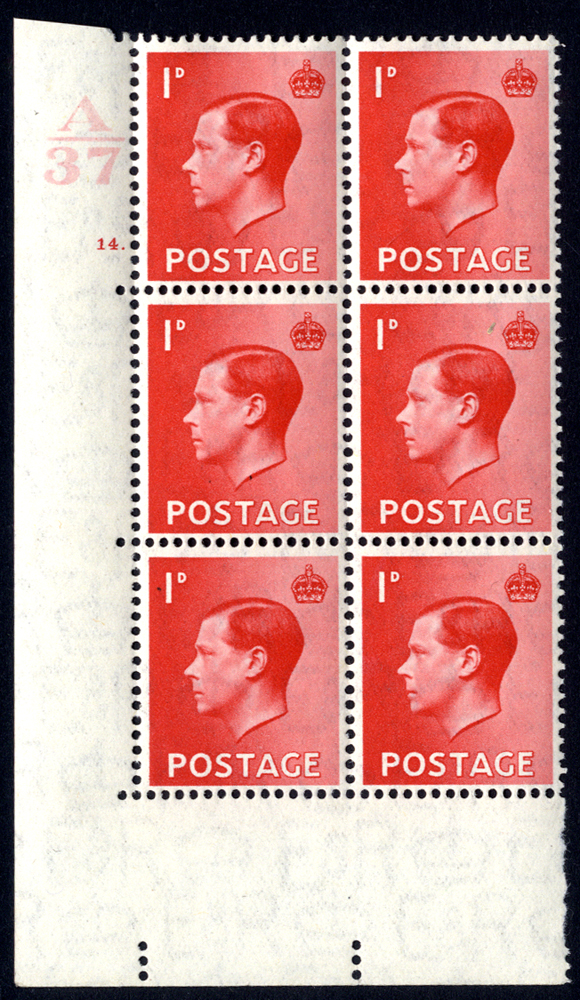 1936 1d scarlet UM Control (A37) block of six Cyl. 14 dot, Perf Type 5, SG.458, Spec. Cat. £125.