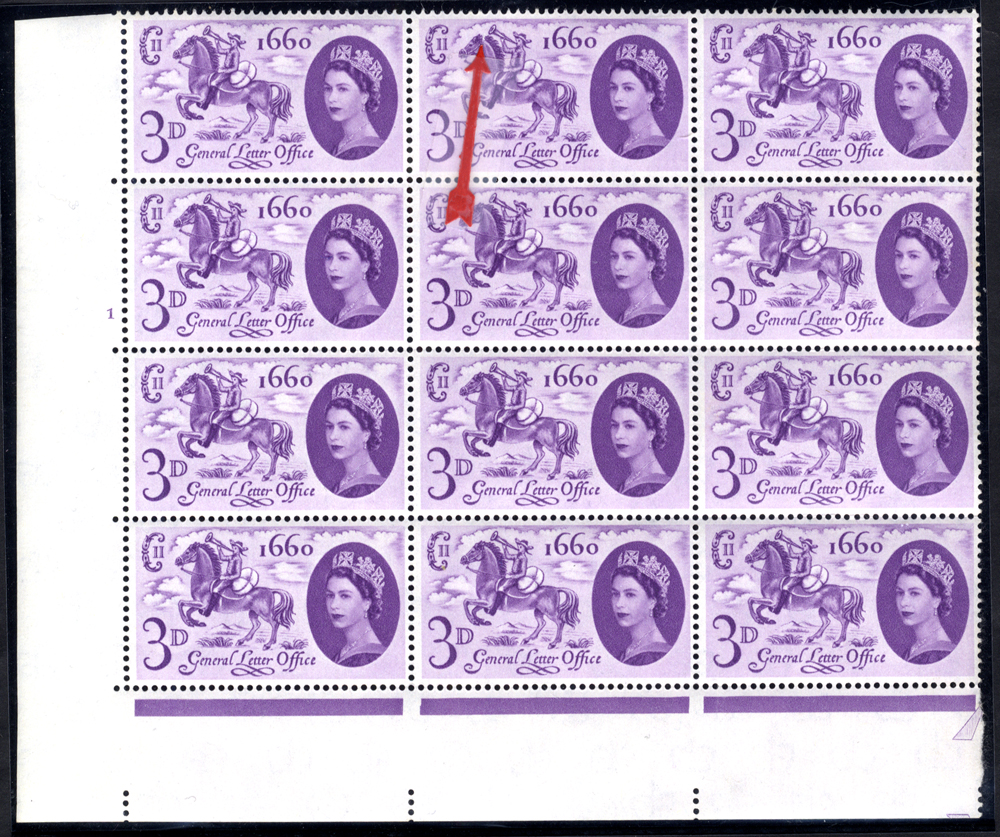 1960 GLO 3d corner marginal UM Cylinder block of twelve incl. 'broken mane' variety (R17/2), SG.619, Spec.W12a, Cat. £40++