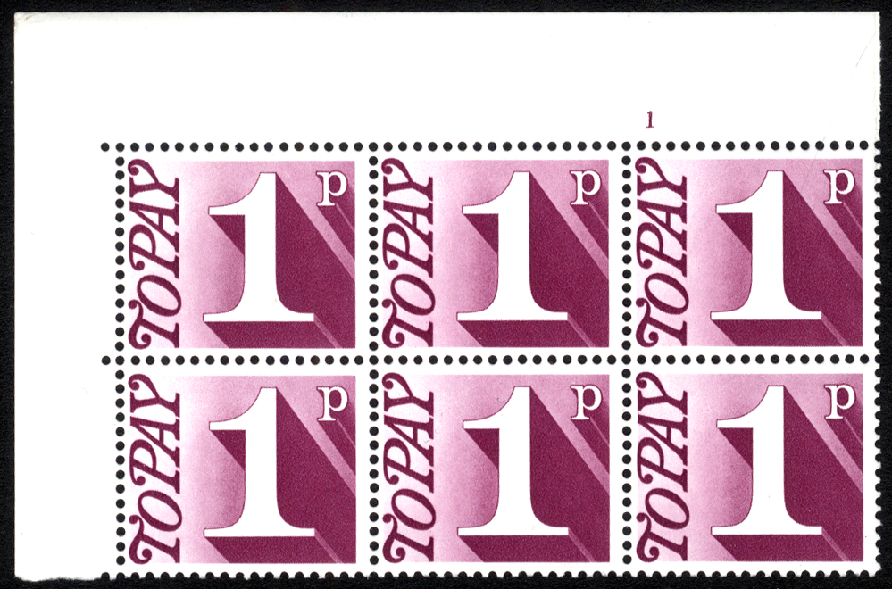 1970-76 1p Cylinder 1 block of six