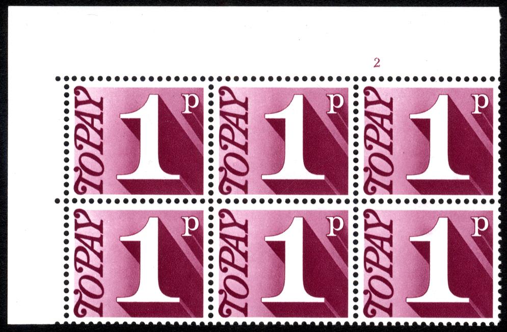 1970-76 1p Cylinder 2 block of six