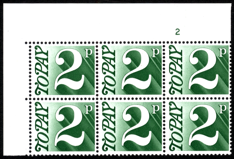 1970-76 2p Cylinder 2 block of six