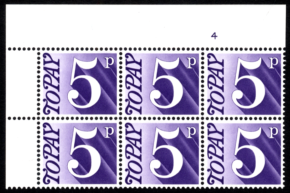 1970-76 5p Cylinder 4 block of six