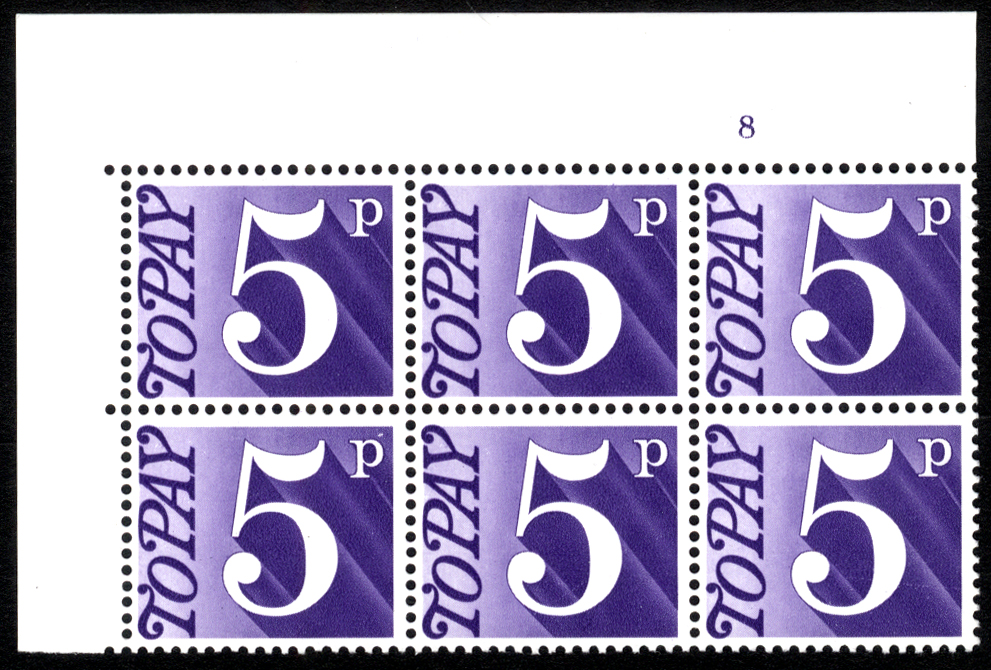 1970-76 5p Cylinder 8 block of six