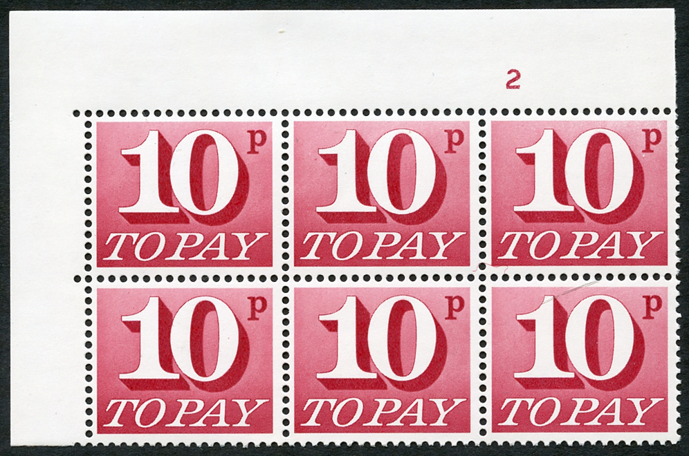 1970-76 10p Cylinder 2 block of six