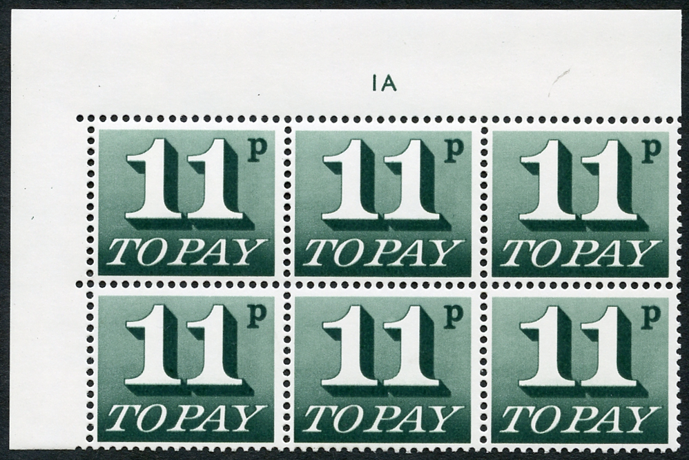 1970-76 11p Cylinder 1A block of six