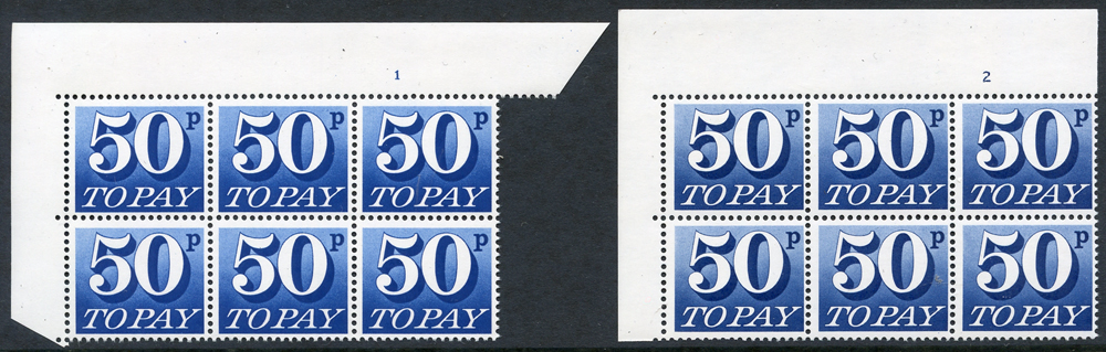 1970-76 50p Cylinder 1 & 2 blocks of six