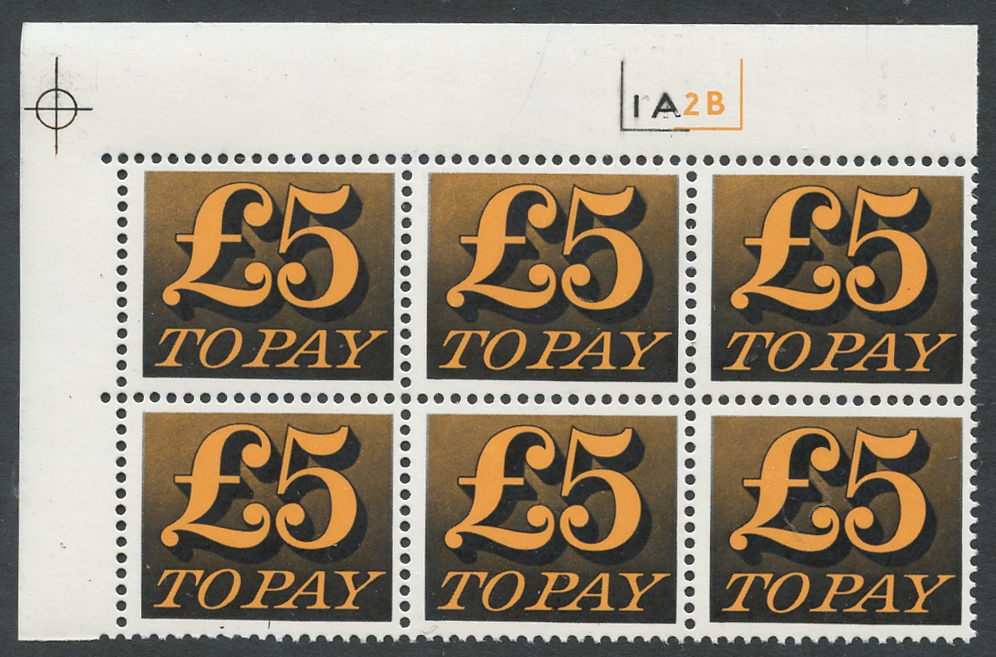 1970-76 £5 Cylinder 1A2B block of six