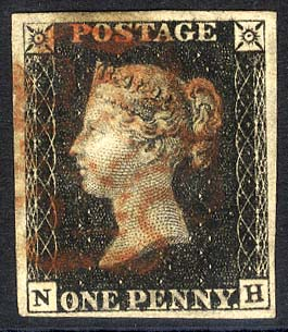 1840 1d black - Plate 4 NH