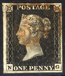 1840 1d black - Plate 4 NG