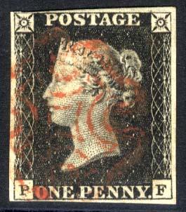 1840 1d black - Plate 4 PF