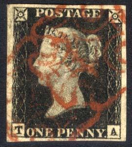 1840 1d black - Plate 4 TA