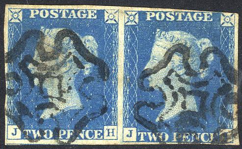 1840 2d blue - Plate 1 JH/JI