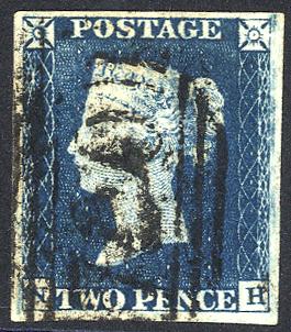 1840 2d blue - Plate 1 NH