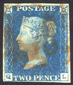 1840 2d blue - Plate 1 OL
