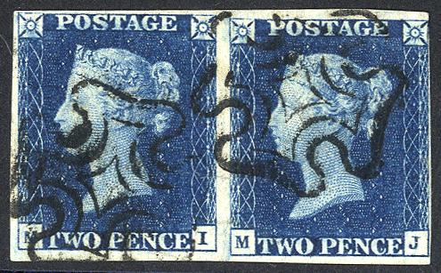1840 2d blue - Plate 2 MI/MJ