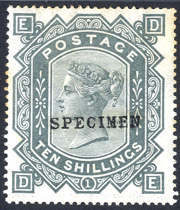 1867-83 Wmk Maltese Cross 10s greenish grey DE