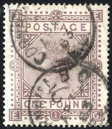 1867-83 Wmk Anchor £1 brown-lilac