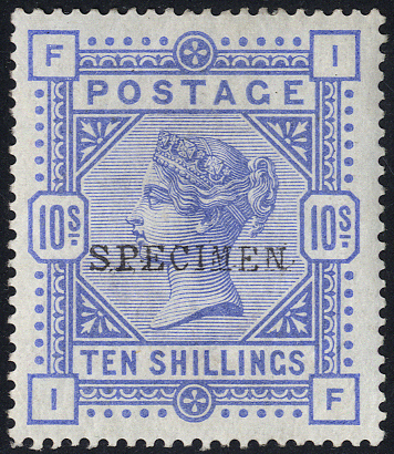 1884 10s cobalt, fresh M optd SPECIMEN Type 9
